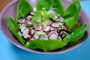 salad cu cai do rau lam salad ngon