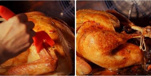 thực hiện việc nướng gà